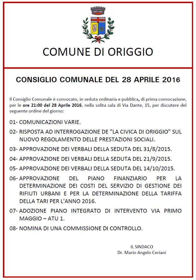 Consiglio Comunale del 28 aprile 2016
